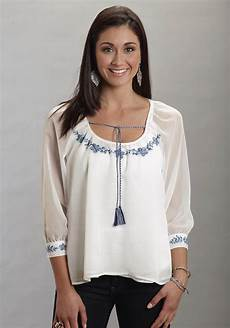 embroidered peasant blouse mens stetson 174 s white georgette embroidered 3 4 sleeve