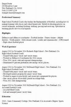 Football Coach Cv Template 1 High School Football Coach Resume Templates Try Them