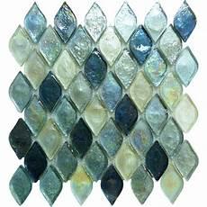 Leaf Tile Lights Blue Iridescent Tile Unique Blue Mosaic Tile
