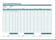 Excel Nutrition Food And Nutrition Log