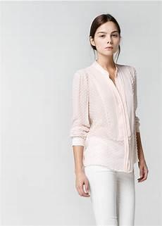 Womens Light Pink Blouse Lyst Mango Silk Blend Plumeti Blouse In Pink