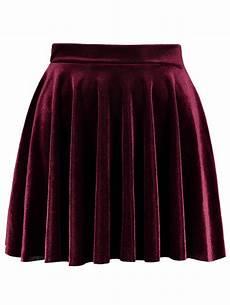 burgundy mini velvet a line skirt rosegal
