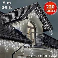 Extra Long Icicle Christmas Lights Icicle Lights 220 Led Bright White Indoor Outdoor Snowing