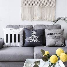 white decorative pillows canvas square gray bed