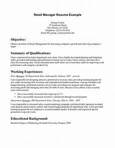 How To Make A Resume For Retail Retail Manager Resume Example Retail Manager Resume