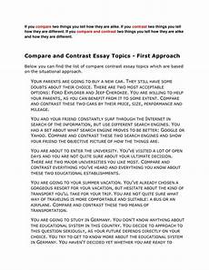 Example Of Compare And Contrast Essay Topics Compare Contrast Essay Topics Ideas