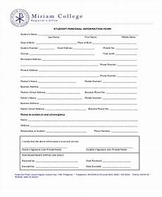 Personal Information Form For Students Sample Document For Persons Support Information