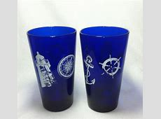 Libbey Glass 4 Cobalt Blue Flare 17.25oz Nautical Coastal