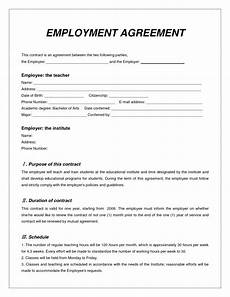 Employee Agreement Form Top 5 Free Employment Agreement Templates Word Templates
