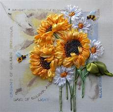 ribbon emboidery with sunflowers sunflowers
