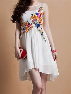 white embroidery floral mesh shoulder dress with hem
