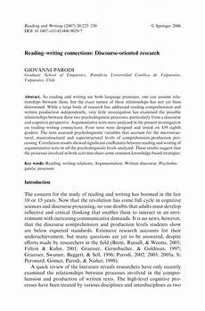 Essay About Reading Pdf Reading Writing Connections Discourse Oriented Research