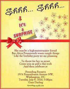Invitation Message For Party Surprise Birthday Party Invitation Wording Wordings And