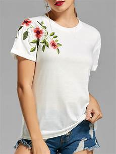 2018 flower embroidered t shirt in white 2xl rosegal