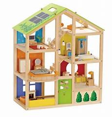 hape all seasons kid s wooden doll house furnished with