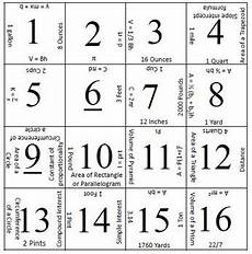 7th Grade Formula Chart 7th Grade Staar Formula Chart Matching Activity 2