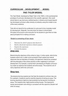 Essay On Curriculum Curriculum Development Model Tyler Model