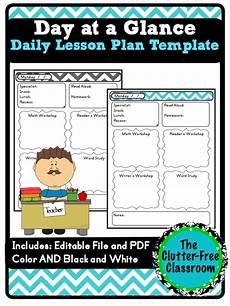 Day At A Glance Template Day At A Glance Daily Lesson Planning Lesson Plan