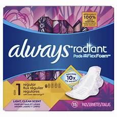 Always Light Pads Always Radiant Pads Size 1 Light Clean Scent Regular