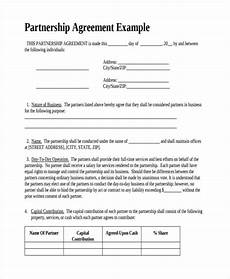 Simple Partnership Agreement Free 60 Partnership Agreement Examples Amp Samples In Pdf