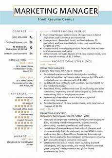 Creative Resume Marketing Marketing Manager Resume Example Amp Writing Tips Rg