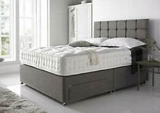 grey 4ft6 linen divan bed base headboard