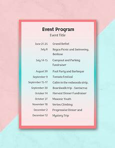 Programme Itinerary Template Free Event Program Template Download 31 Program