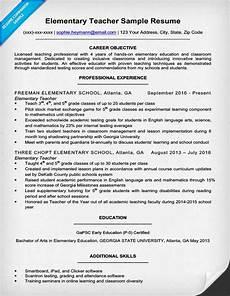 Writing A Teaching Resume Elementary Teacher Resume Sample Amp Writing Tips Resume