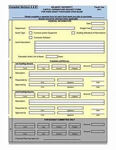 Capex Template Capital Expenditure Form Template Sampletemplatess
