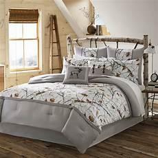 4pc white camo bedding set grey nature print rustic