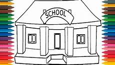 drawing school how to draw school picture coloring
