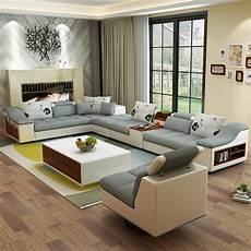 muebles de la sala moderna en forma de u de cuero esquina