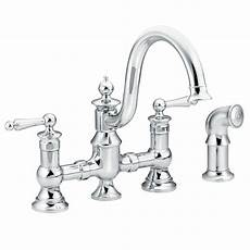 Bridge Kitchen Faucet Moen Waterhill 2 Handle High Arc Side Sprayer Bridge