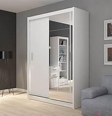 fado white mirrored 2 door wardrobe closet with sliding