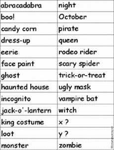 Halloween Themed Words Holidays Find A Theme Word For Each Letter