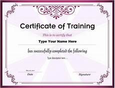 Certificate Of Training Template Free Certificates Of Training Templates Professional