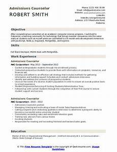 College Recruiter Resume Admissions Counselor Resume Samples Qwikresume