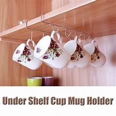 12 hooks silver shelf cabinet rack mug coffee tea