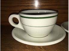 2 BUFFALO CHINA vintage heavy duty cup saucer sets