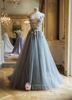 illusion floral appliqued dusty blue tulle