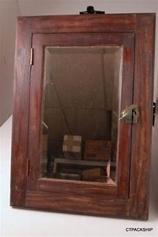 antique wood medicine cabinet w beveled mirror rustic