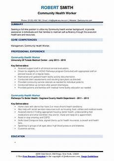 Community Service Worker Resume Community Health Worker Resume Samples Qwikresume
