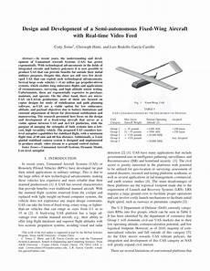 Aircraft Wing Design Calculations Pdf Design And Development Of A Semi Autonomous Fixed