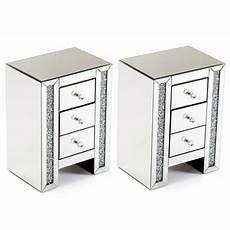 set of 2 mirrored nightstand end bedside table cabinet 3