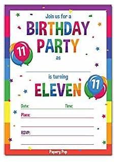 11th Birthday Party Invitation Wording Amazon Com 11th Birthday Party Invitations With Envelopes
