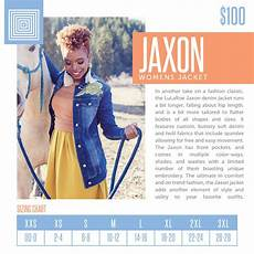 Lularoe Denim Jacket Size Chart 2018 Winter Lularoe Jaxon Jacket Sizing Chart In 2020