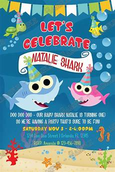 Baby Birthday Party Invitations Novel Concept Designs Baby Shark Girl Shark Birthday