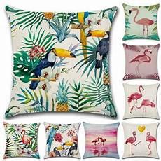 nordic flamingo tropical leaf decorative throw pillow