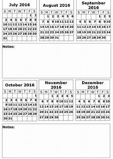 6 Month Calendar On One Page 6 Month On A Page 2016 Calendar