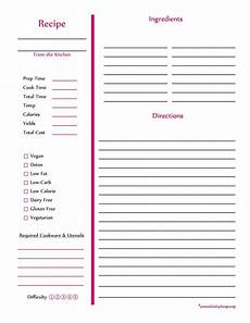 Templates For Recipes Red Recipe Card Full Page Cookbook Template Recipe